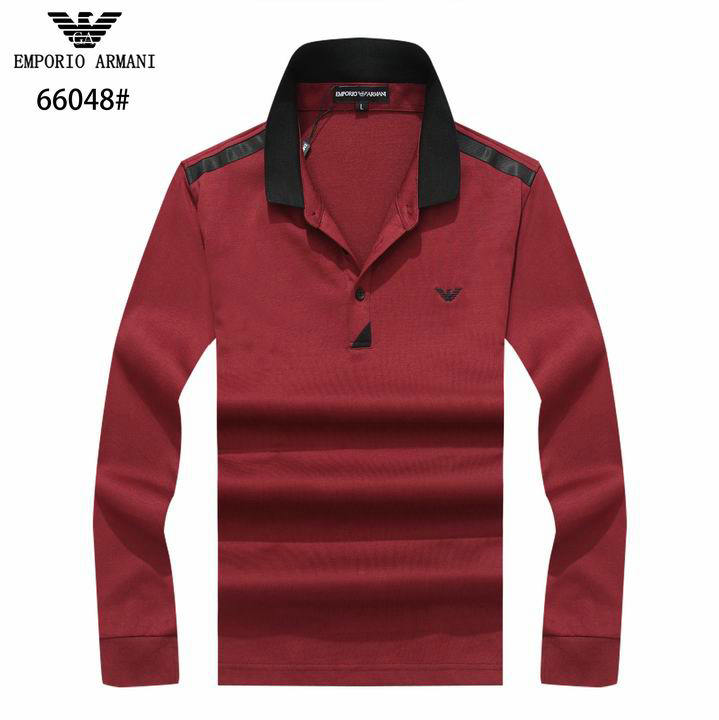 Wholesale Cheap Mens Armani Lapel Long Sleeve T-Shirt