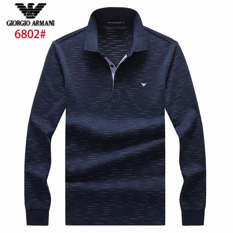 Wholesale Cheap Armani Men's Long Sleeve Lapel T-shirts for Sale