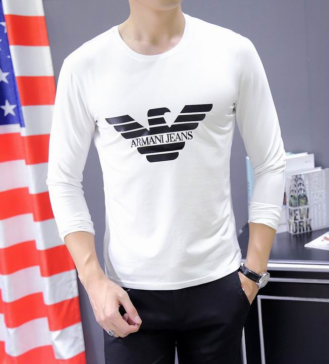 Wholesale Cheap Armani Round Neck Long Sleeve T Shirt