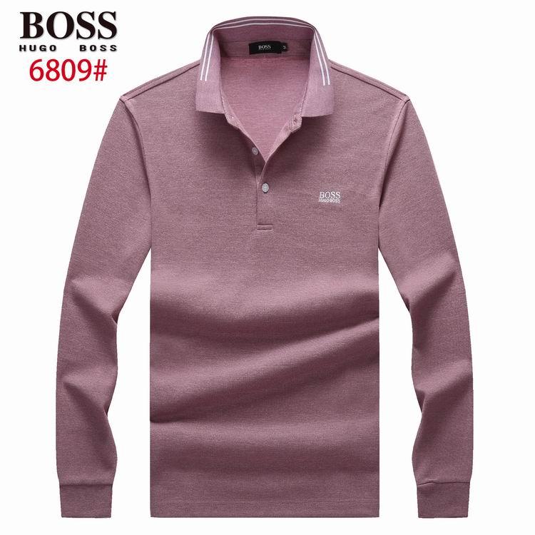 Wholesale Cheap Boos Men's Long Sleeve Lapel T-shirts for Sale