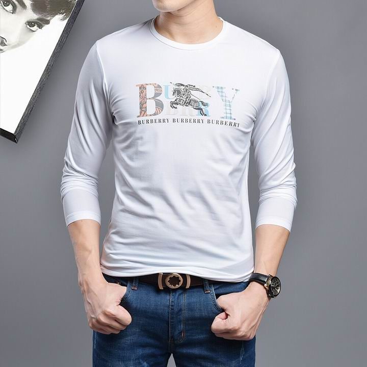 Wholesale Burberry Mens Long Sleeve Round Collar T Shirts for Sale