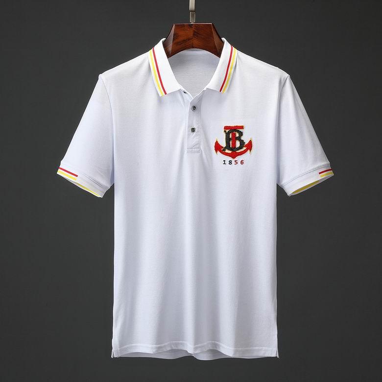 Wholesale Cheap Burberr y Men's Short Sleeve Lapel T Shirts for sale