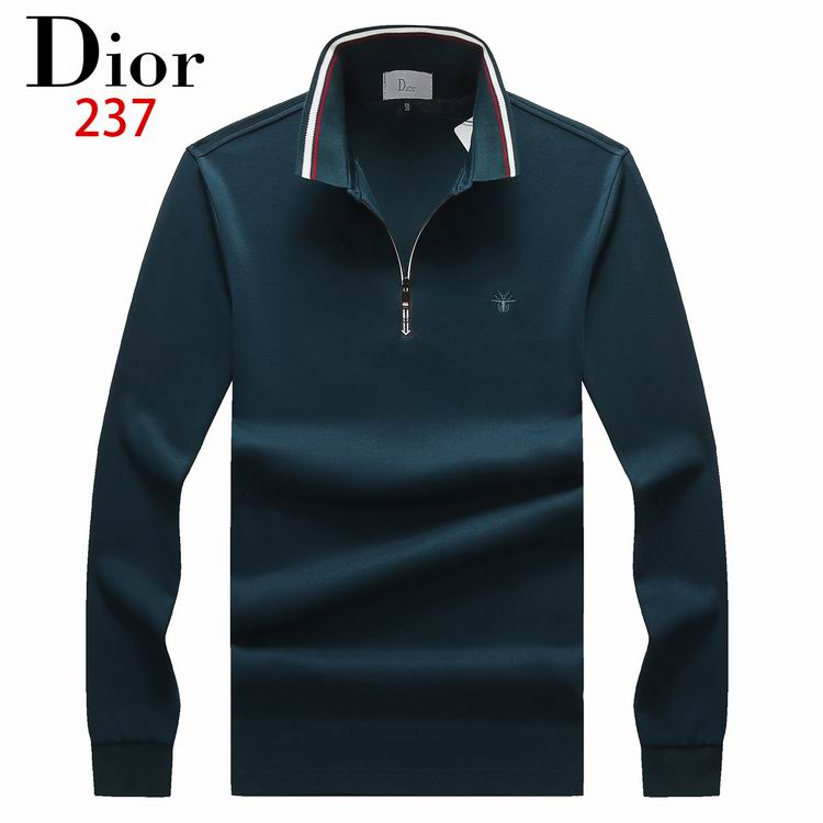 Wholesale Cheap Dio r Men's Long Sleeve Lapel T-shirts for Sale