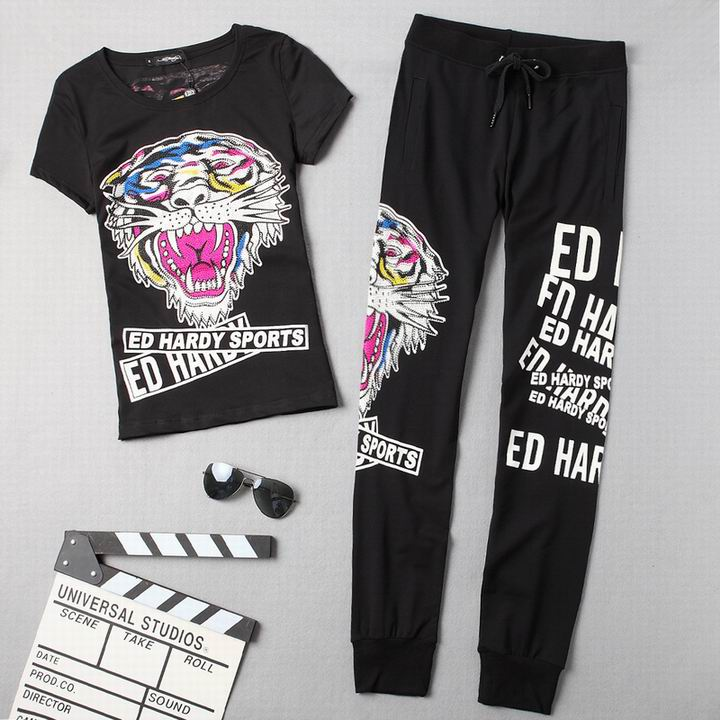 Wholesale Cheap ED Hardy Womens Shorts Sleeve Tracksuits for Sale