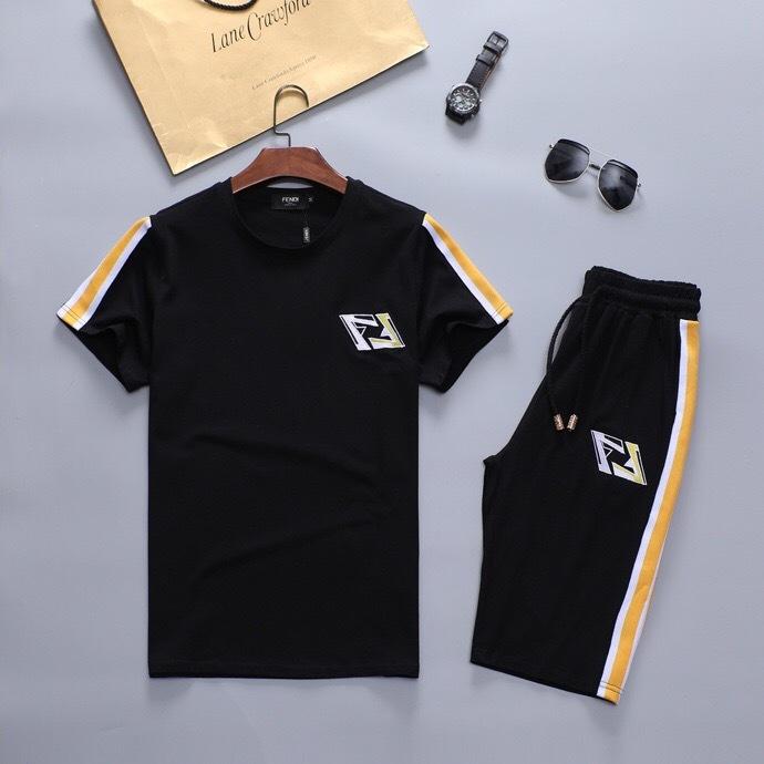 Wholesale Fendi Men's Short Sleeve Designer Tracksuits for Cheap