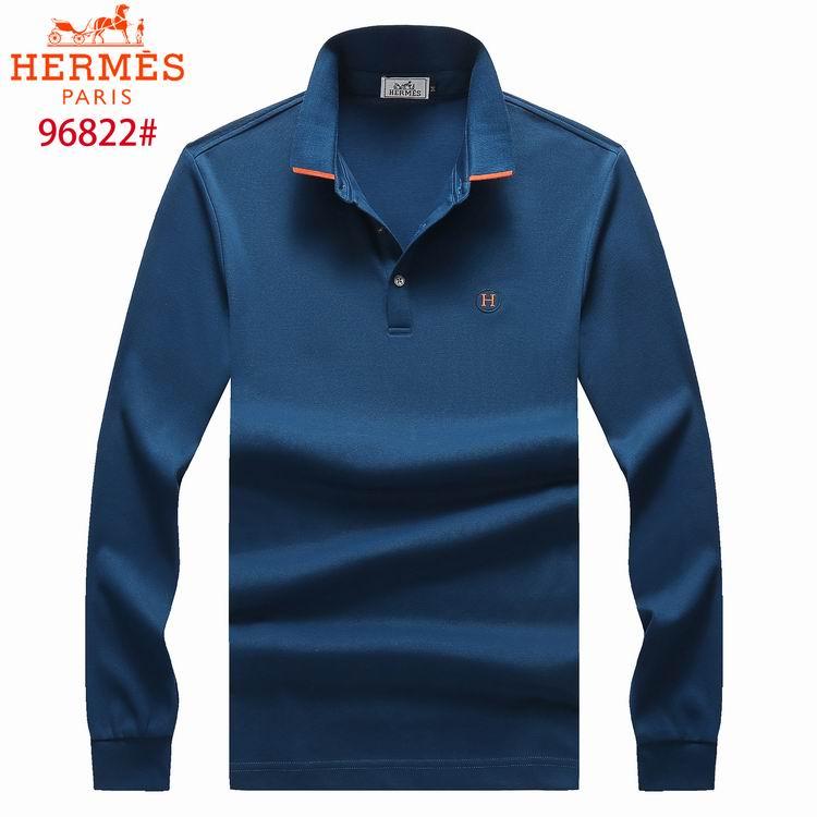Wholesale Cheap Hermes Men's Long Sleeve Lapel T-shirts for Sale
