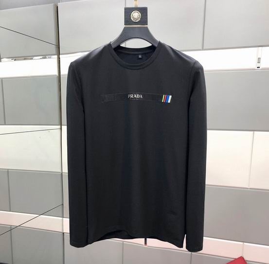 wholesale prada mens long sleeve round neck t shirt