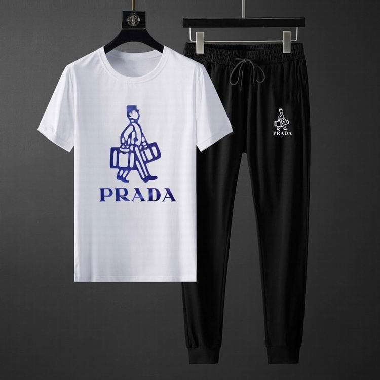 Wholesale Cheap Prada Short Sleeve Tracksuit for Men