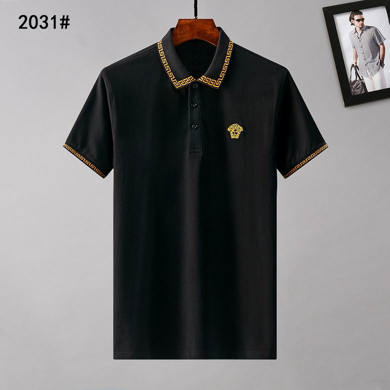 Wholesale Cheap Versac e Mens Short Lapel T Shirts for sale