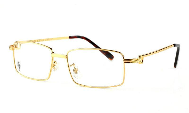 Wholesale Replica Cartier Full Rim Metal Eyeglasses Frame Golden-029