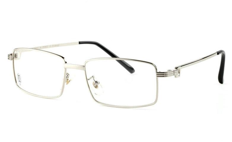 Wholesale Replica Cartier Full Rim Metal Eyeglasses Frame Silver-030