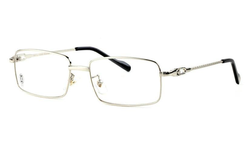 Wholesale Replica Cartier Full Rim Metal Eyeglasses Frame (Silver)-032