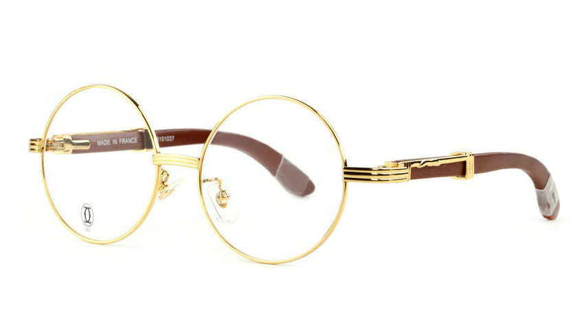 Wholesale Cheap Replica Cartier Round Metal Glasses Wood Frames for Sale-022