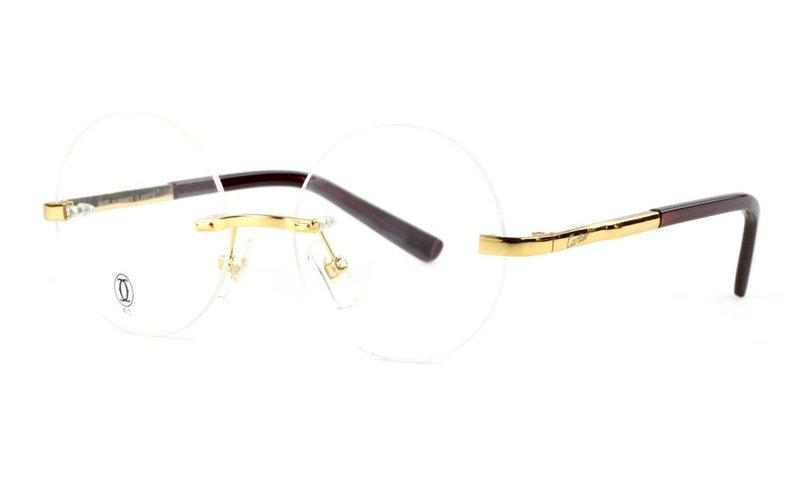 Wholesale Cheap Replica Cartier Round Metal Glasses Wood Frames for Sale-036