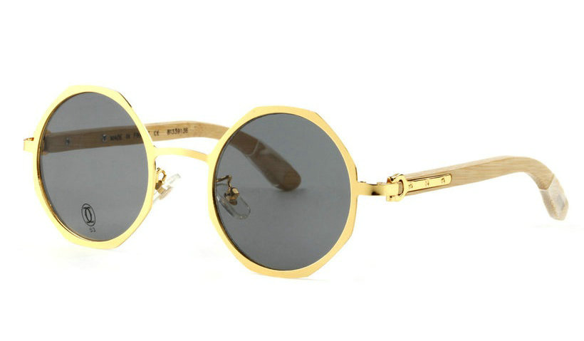 Wholesale Cheap Replica Cartier Round Gold Metal Frame Glasses for Sale-045