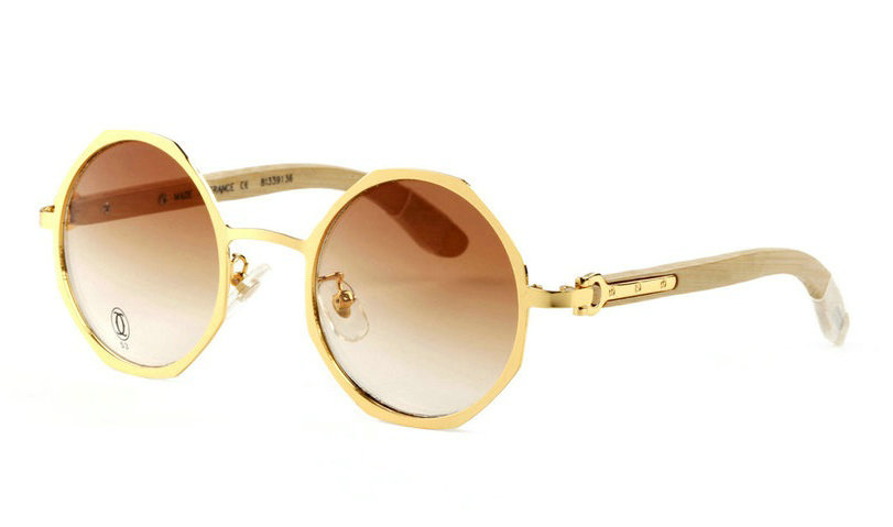 Wholesale Cheap Replica Cartier Gold Metal Round Glasses Bamboo Frames-046