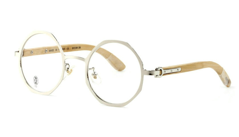 Wholesale Cheap Replica Cartier Silver Round Glasses Bamboo Frames for Sale-047