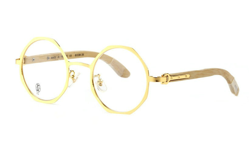 Wholesale Replica Cartier Gold Metal Round Glasses Bamboo Frames for Sale-048