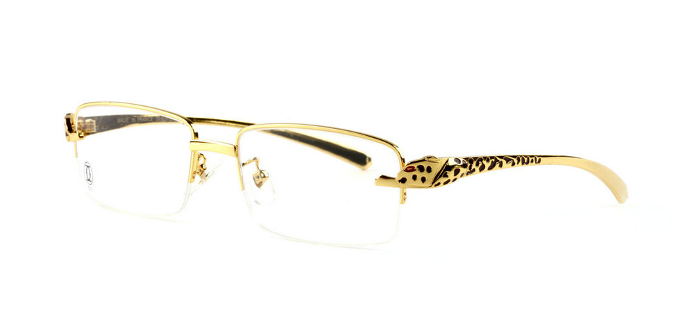 Wholesale Cheap Cartier Gold Panthere Glasses & Frames for Sale-031